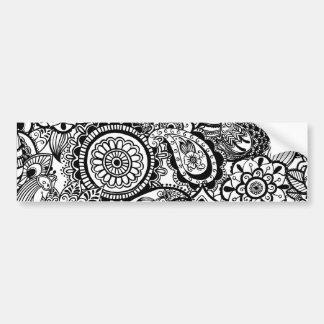 Autocollant De Voiture Paisley floral blanc noir mignon