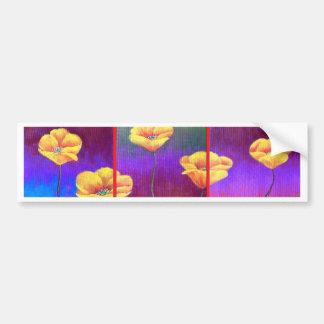 Autocollant De Voiture Peinture jaune de fleur de pavot - multi