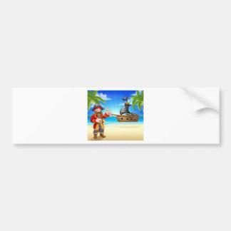Autocollant De Voiture Personnage de dessin animé de pirate sur la plage