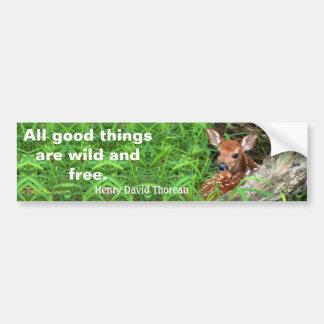 Autocollant De Voiture Photo d'un faon et une citation par Thoreau -