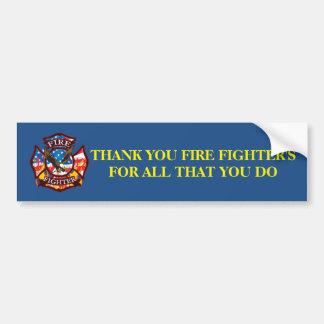 Autocollant De Voiture Pompier de Merci pour tous ce que vous faites