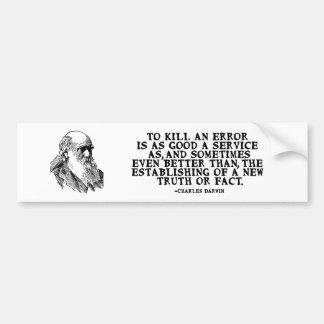 """Autocollant De Voiture """"Pour citation de Darwin tuer erreur"""""""