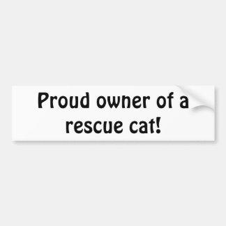 """Autocollant De Voiture """"Propriétaire fier d'un chat de délivrance !"""""""
