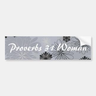 Autocollant De Voiture Proverbes floraux noirs et gris 31 de femme