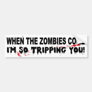 Autocollant De Voiture Quand les zombis viennent je me déclenche ainsi