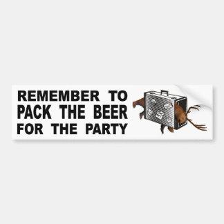 Autocollant De Voiture Rappelez-vous d'emballer la bière pour la partie