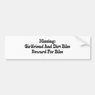 Autocollant De Voiture Récompense absente de vélo d'amie et de saleté