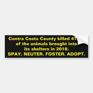 Autocollant De Voiture Refuges pour animaux du comté de Contra Costa