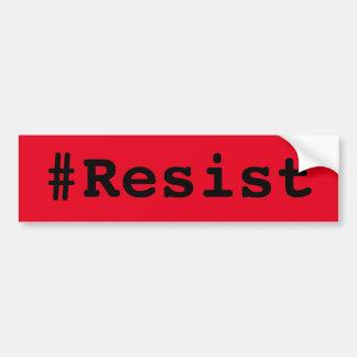 Autocollant De Voiture #Resist, texte noir audacieux sur l'adhésif pour