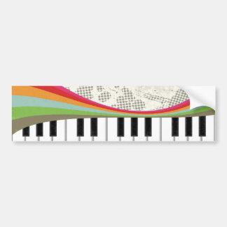 Autocollant De Voiture Rétros rayures de couleurs de piano à la mode impr