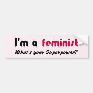 Autocollant De Voiture Rose féministe de slogan de super pouvoir