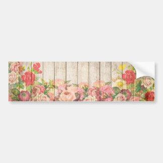 Autocollant De Voiture Roses romantiques rustiques vintages en bois