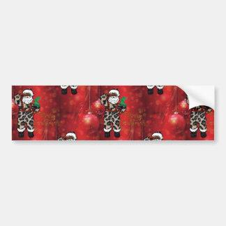 Autocollant De Voiture rouge africain de Claus de léopard de père Noël