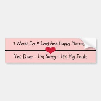 Autocollant De Voiture Sept mots pour un long et heureux mariage