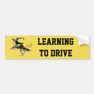 Autocollant De Voiture Sorcière drôle apprenant à conduire l'adhésif pour