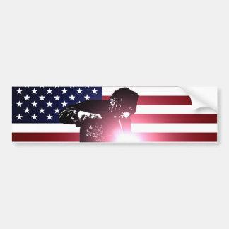 Autocollant De Voiture Soudeuse et drapeau américain