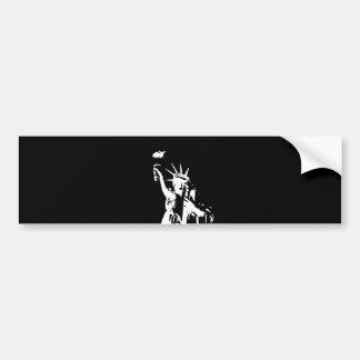 Autocollant De Voiture Statue noire et blanche de silhouette de liberté