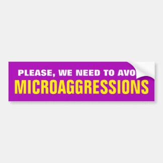 """AUTOCOLLANT DE VOITURE """"SVP, NOUS DEVONS ÉVITER MICROAGGRESSIONS """""""
