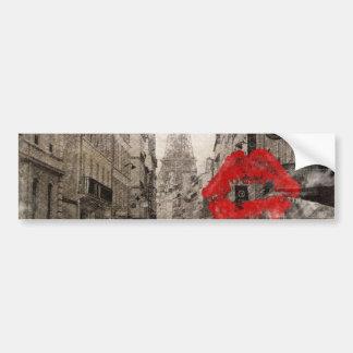 Autocollant De Voiture Tour Eiffel chic minable de Paris de baiser rouge