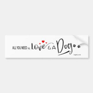 Autocollant De Voiture Tout-vous-besoin-être-Amour-et un chien !