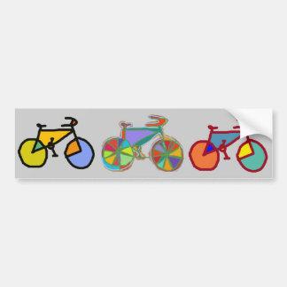 Autocollant De Voiture trois vélos colorés