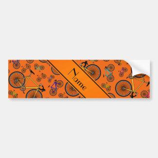 Autocollant De Voiture Vélos oranges nommés personnalisés de route