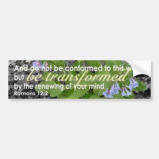 Autocollant De Voiture Vers chrétien transformé de bible de 12:2 de