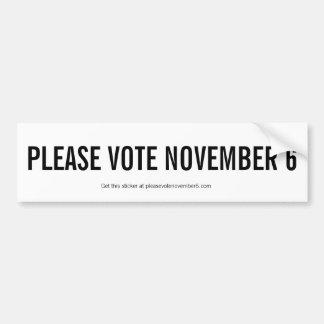 Autocollant De Voiture Veuillez voter le 6 novembre