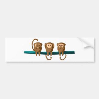 Autocollant De Voiture Voyez pour entendre pour parler des singes
