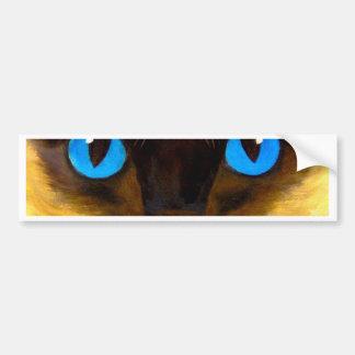 Autocollant De Voiture Yeux de la peinture féline d'art de chat siamois