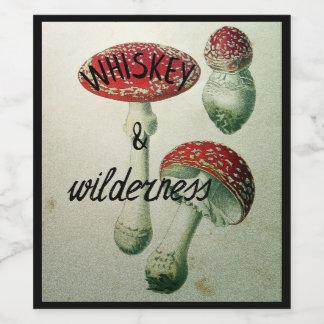 Autocollant de whiskey et de flacon de champignon