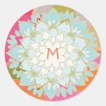 Autocollant décoré d'un monogramme de fleur de