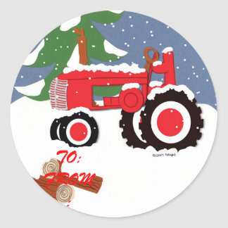Autocollant d'étiquette de cadeau de tracteur