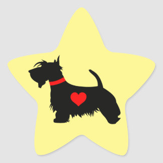 Autocollant d'étoile de coeur de chien de Scottie