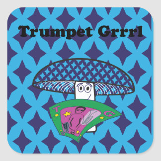 Autocollant détrempé timide de Grrrl de trompette