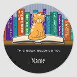 Autocollant d'ex-libris de chat