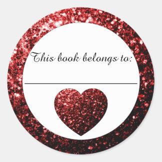 Autocollant d'ex-libris de coeur d'étincelles de