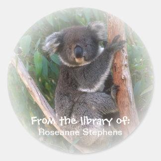 Autocollant d'ex-libris d'ours de koala