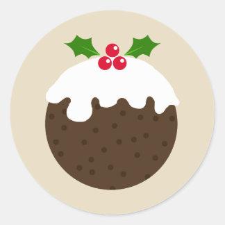 Autocollant d'illustration de pudding de Noël