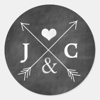 Autocollant d'initiales de flèches de coeur de