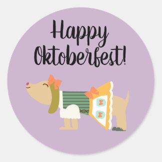 Autocollant d'Oktoberfest avec le chien de Dirndl
