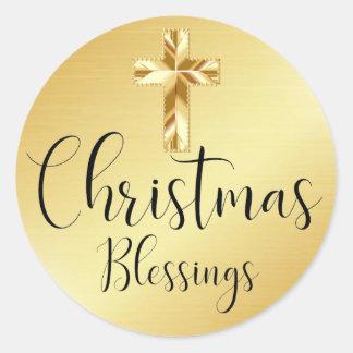 Autocollant d'or de bénédictions de Noël avec la