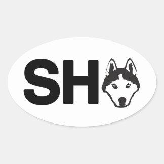 Autocollant d'ovale de chien de traîneau sibérien