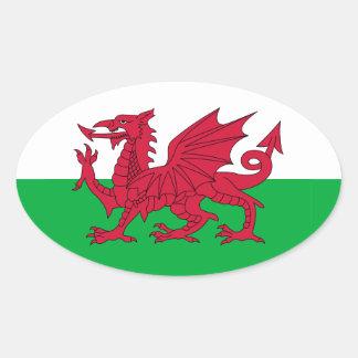 Autocollant d'ovale de drapeau de Gallois