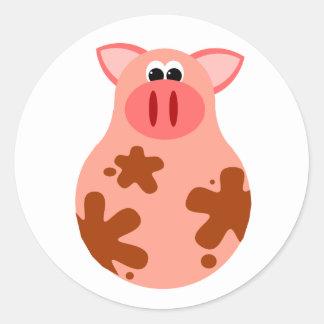 Autocollant drôle de porc