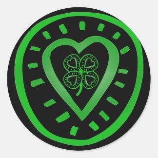 Autocollant du jour R de coeur de St Patrick noir