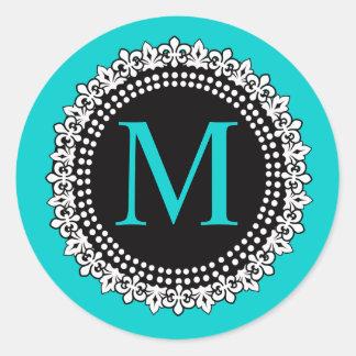 Autocollant du monogramme M Fleur de lis Wedding