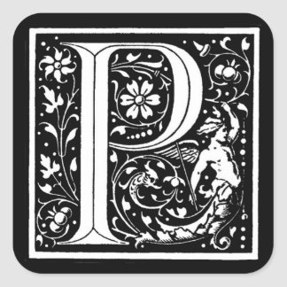 Autocollant du ` P floral vintage de monogramme' -