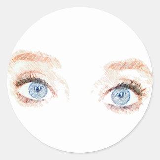 Autocollant d'yeux bleus