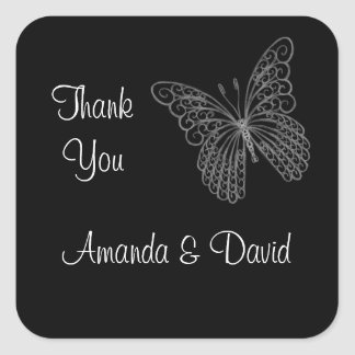 Autocollant en filigrane de Merci de papillon